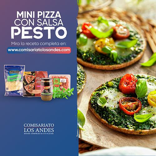Mini pizzas en salsa pesto